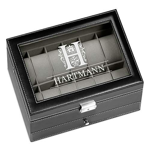 Murrano Uhrenbox mit Gravur für 12 Uhren & Schmuck - 30x20x13cm - Uhrenkasten aus Kunstleder - Schwarz - Geschenk für Männer - Monogramm