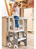Torre de Aprendizaje, Escritorio y Taburete Montessori (Gris/Blanca)