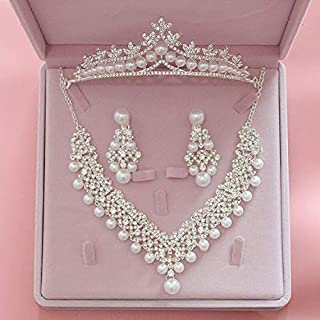 Bride Pearl Costume jewelery sets New Design Crystal Rhinestone Choker Necklace Earrings Tiara Bridal Women Wedding Jewelr...