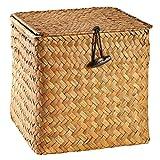 UPKOCH Cesta de mimbre tejida con tapa, cesta de junco marino, caja de almacenamiento para organizadores de estantes (naranja grande)