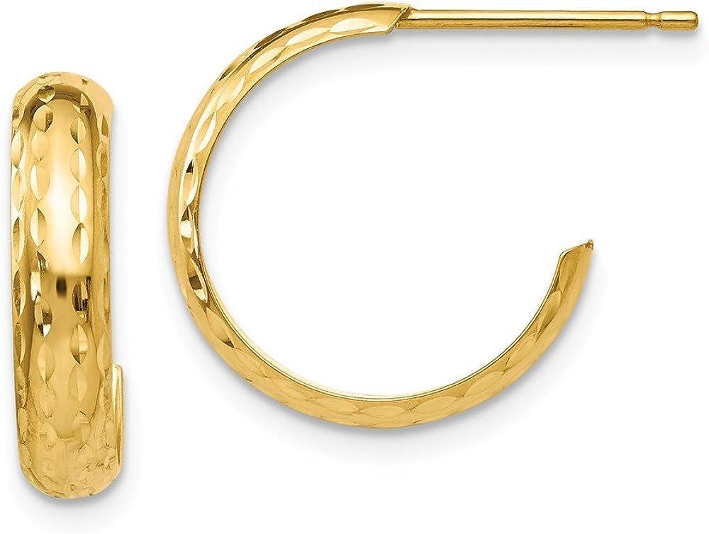 14k Yellow Gold 3.5mm J Hoop Post Stud Earrings Ear Hoops Set Fine Jewelry For Women Gifts For Her