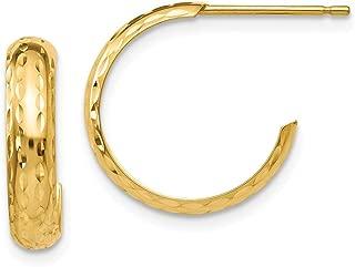 14k Yellow Gold 3.5mm J Hoop Post Stud Earrings Ear Hoops Set Fine Jewelry Gifts For Women For Her
