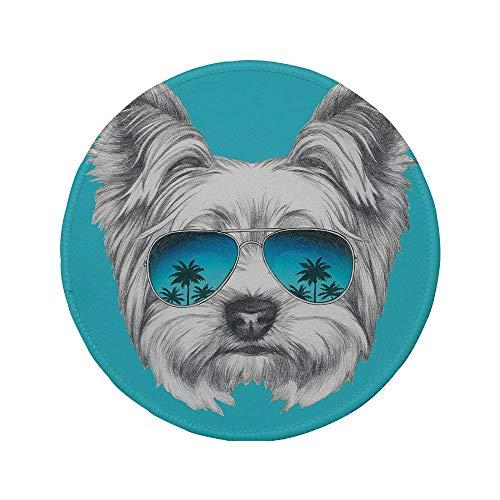 Rutschfreies Gummi-rundes Mauspad Yorkie Yorkshire Terrier-Porträt mit cooler Spiegel-Sonnenbrille Handgezeichnete niedliche Tierkunst Blau-Weiß 7.9