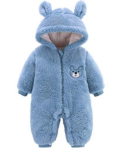 Bébé Flanelle Barboteuses Combinaison De Neige Chaude En Coton Polaire à Capuche Manches Chaude En Coton D'hiver Manteau Pour Bébé Fille Garçon,Blue-9M