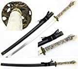 Ivory Dragon Handmade Samurai Sword Katana 1045 Carbon Steel Blade. for Collection, Gift, Straw Mat Cutting Practice (Black)