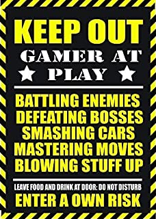 Nat999Lily Warning Gamer at Play Metal Sign 12x18 Plaque for Game Ps4 Ps3 Xbox 360 Cod Wii Fans