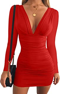 GOBLES Women's Sexy Long Sleeve V Neck Ruched Bodycon Mini Party Cocktail Dress