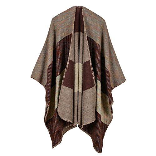 GYXYYF Europese en Amerikaanse Mode Verdikking Herfst En Winter Regenboog Brede Strip Dual-Use Sjaal Lange Airconditioning Warme Sjaal Mantel