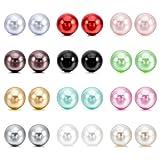 Perlas de imitacion Pendientes Conjunto - SODIAL(R)4~10mm 24 Pieza Acero Inoxidable Resina Semental Pendientes Conjunto Set (12 Pares) Mujer