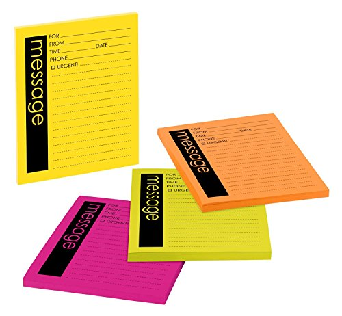 Post-it Super Sticky Notes, Telephone Message, 4 in x 5 in, Rio de Janeiro Collection, Lined, 4 Pads/Pack, 50 Sheets/Pad (7679-4-SS)