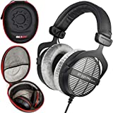 beyerdynamic DT 990 PRO Studio Headphones 250 ohms for Mixing and Mastering (Open) Over Ear Made in Germany Headset Bundle with Deco Gear Premium Professional Headphone Protector Travel Hard Case