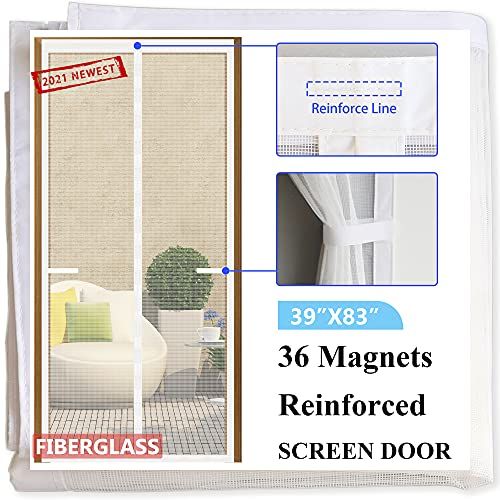Magnetic Screen Door [2021 Newest Version]39x83,36 Magnets Sewn-in & 8 Weighted Bottom Sticks,Fiberglass Mesh Screen Doors with Magnets,Full Frame Seal Front Door Screens,Pet&Kid Friendly,White