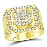 Solid 14k Yellow Gold Men's Round Diamond Square Cluster Engagement Wedding Anniversary Ring Band 2.00 Ct. - Size 8