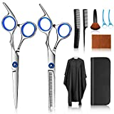 Hair Cutting Scissors Kits, 10 Pcs Stainless Steel Hairdressing Shears Set Professional Thinning Scissors For Barber/Salon/Home/Men/Women/Kids/Adults Shear Sets