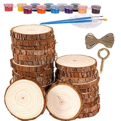 Wood Slices Ornaments 20 Pcs 2.4-2.8 inches Wood Rounds Craft Unfinished Natural Wood kit for Arts and DIY Crafts Wood Circles Christmas Ornaments Wooden Slices Pre-Installed with Small Eye Screws