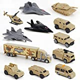 BeebeeRun Special Forces Military Vehicles Army Truck Toys for Boys, Mini Die-cast Military Model Cars Toys Set with Tank Helicopter Jets Playset Gift for Kids