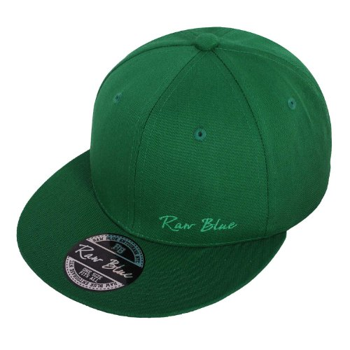 Raw Blue Basic Signature Snapback in Green / Green
