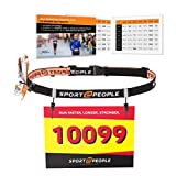 sport2people Ultra Running Race Belt for Runners - Triathlon Number Belt with Gel Loops - Reflective...
