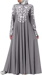 Women Floral Printed Elegant Long Dress ❀ Ladies Solid Long Sleeve Muslim Lace Stitching Maxi Dress Party Dress