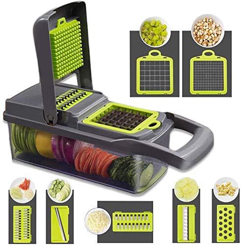 Picadora de verduras, cortador de cebolla, cortador de alimentos, patatas, frutas y queso, cuchillas multifunción, cortador de cuchillas + 7 accesorios de cortador de verduras