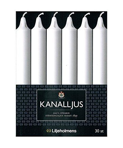 Liljeholmens kaarsen, staafkaarsen, kanaalkaarsen, wit, 200 x 19 mm