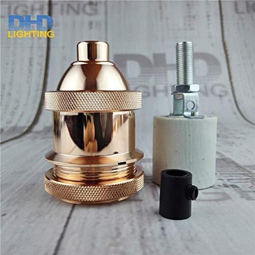 Precio al por mayor de AiCheaX 50 unids/lote industrial de latón antiguo Soporte de lámpara de aluminio Accesorios de iluminación retro zócalo roscado - (Color: LH7705)