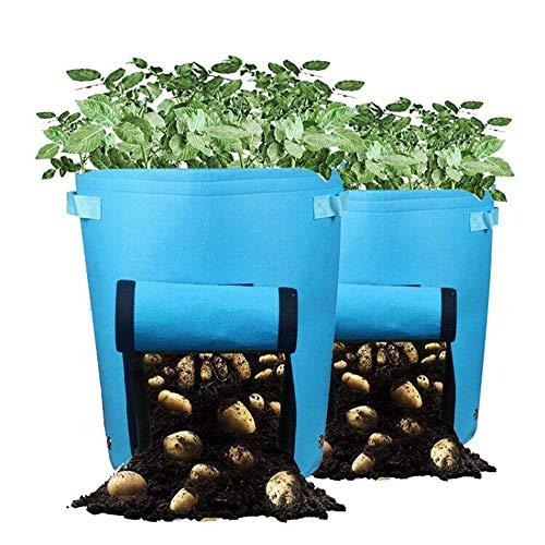 Alumuk Pflanztasche, Pflanzsack aus Vliesstoff - 10 Gallonen, ca. 40 Liter - 2er Pack - Garten Übertopf Pflanztopf Gemüse Gartensack für Kartoffeln Tomaten Erdbeeren mit Klappe und Griffen (Blau)