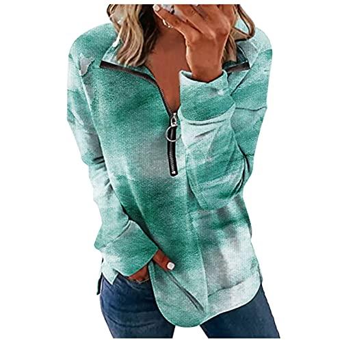 QIUTIANQ Camiseta Manga Larga con Cremallera De Solapa De Moda para Mujer Top Suelto con Estampado De Ramo En La Cintura Adecuado para Vestidos Casuales Diarios Y Cualquier Ocasió (Verde, S)