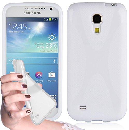 Cadorabo Hülle kompatibel mit Samsung Galaxy S4 Mini Hülle in Magnesium WEIß Handyhülle aus flexiblem TPU Silikon im X-Line Silikon Schutzhülle