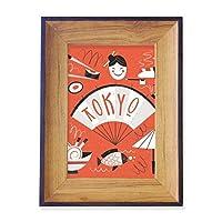 日本の寿司の芸者東京 フォトフレーム、デスクトップ、木製