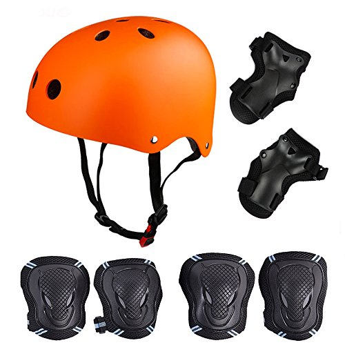 Skateboard / Skate Protektoren Set mit Helmet -- Skate Helmet Knie Pads Elbow Pads mit Handgelenkschoner für Skate, Skateboard, Roller Skate, BMX, Bike und anderen Extreme Sports,für Kopf M (52-57 cm) Orange