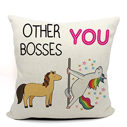 Mancheng-zi Funny Boss Throw Pillow Case, Funny Boss Gift, Boss Birthday Gift, 18 x 18 Inch Linen Cushion Cover for Sofa Couch Bed