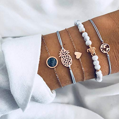 Arimy Boho Layered Turquoise Bracelet Gold Map Bracelet Heart Party Fashion Hand Chain Fashion Jewelry Accessories for Women and Girls(5pcs)