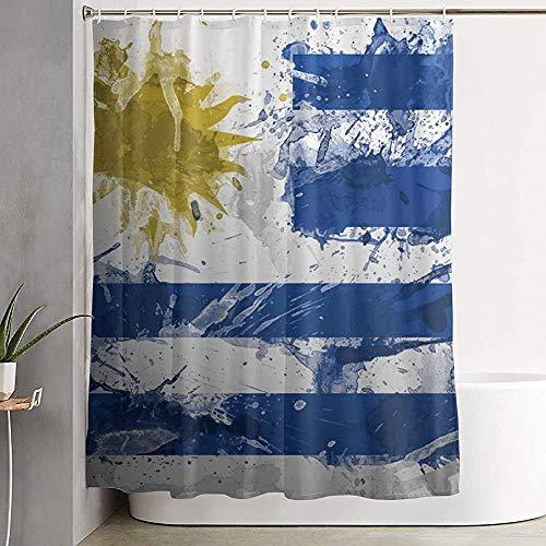 jingqi Cortina de baño Uruguay Flag Paint Cortina de Ducha Impermeable con Ganchos 152X183CM