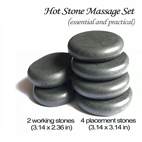Hot Stones - 6 Large Essential Massage Stones Set for Professional or Home spa, Relaxing, Healing, Pain Relief by ActiveBliss