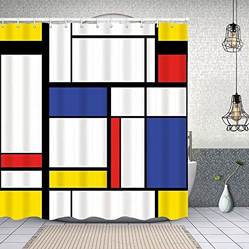 Cortina de Baño con 12 Ganchos,Cuadrícula Azul Patrón Abstracto Moderno Pintura Mondrian Avant Bauhaus Rectángulo geométrico,Cortina Ducha Tela Resistente al Agua para baño,bañera 180X180cm