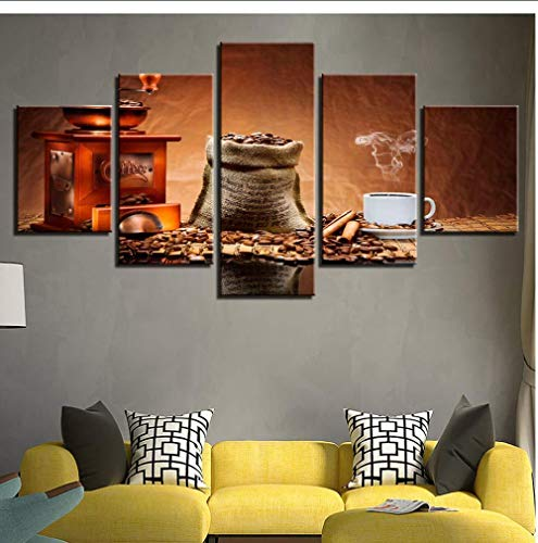 NIUYHFU Modular Canvas Pictures Home Decorprint 5 Piezas Coffee Beans Painting Coffee Aroma Cup Poster Restaurant Wall Art