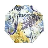 Elephant Paraguas tropicales para mujer y hombre, cierre automático, tamaño pequeño, para lluvia y domingo, 3 plegables.