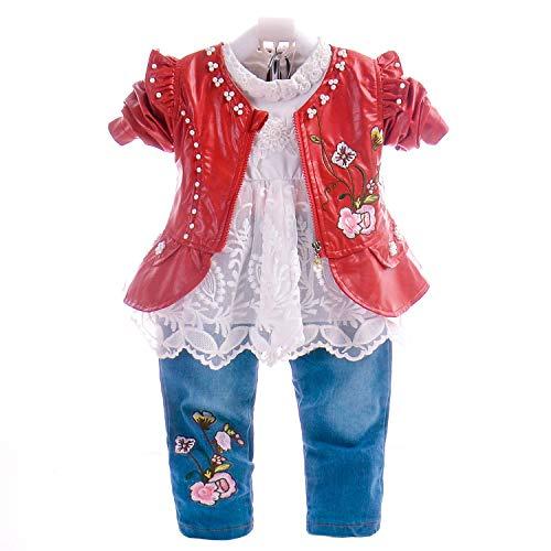 6M-4T Baby- und Kleinkindmädchen 3-teiliges Kleidungsset Langarm-T-Shirt Lederjacke und Jeans (6-12M, Rot-Blume)