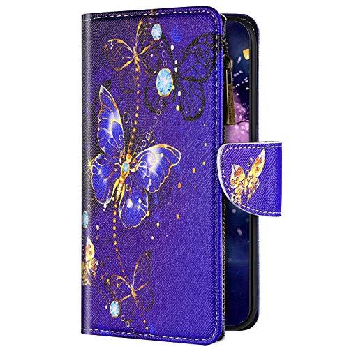 Uposao Kompatibel mit Xiaomi Redmi 8A Hülle Flip Schutzhülle Leder Handyhülle Geldbörse mit Reißverschluss 3D Bunt Muster Klapphülle Ledertasche Magnet Kartenfächer,Schmetterling Lila