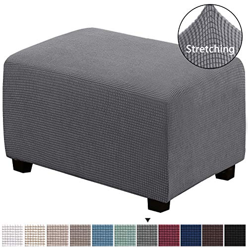 H.VERSAILTEX Stretch Storage Ottoman Slipcover Furniture Protector Ottoman Covers 1-Piece Spandex Elastic Rectangle Footstool Sofa Cover for Pets Machine Washable(Ottoman X-Large,Gray)