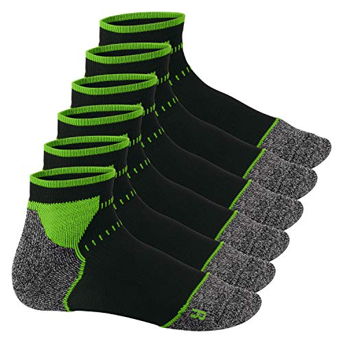 Footstar Damen & Herren Funktions Sport Socken (6 Paar), Gepolsterte Laufsocken - Schwarz-Grün 43-46