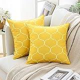 MIULEE Funda de Cojines Funda de Almohada Dibujo Geométrica Almohadas Decorativas Cómodas Impermeable Decoración para Sofá Silla Cama Dormitorio Oficina Exterior 2 Piezas 40x40 cm Amarillo