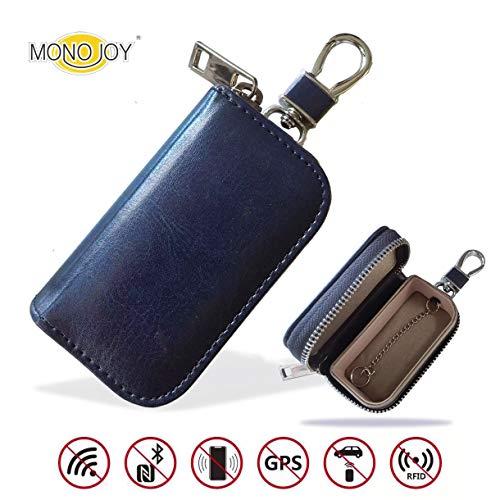 MONOJOY Faraday Tasche für Autoschlüssel, Autoschlüssel Signal Abschirmbox, RFID Diebstahlschutzbox aus Leder, Fernbedienung schlüsseletui mit Haken und Schlüsselring (Blau)