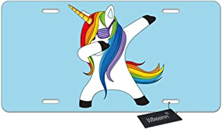 WONDERTIFY License Plate Funny Colorful Unicorn Horse Dabbing Dance with Glass on Blue Background Decorative Car Front License Plate,Metal Car Plate,Aluminum Novelty License Plate,6 X 12 Inch