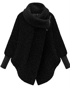 Women Autumn Plus Size Thick Woolen Cape Poncho Outwear Pea Coat Black XL