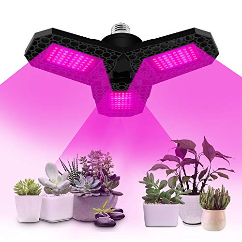 Pflanzenlampe, 80W 144 LEDs Pflanzenlampe E27 Faltbares Vollspektrum Pflanzenlicht Pflanzenleuchte Wachstumslampe Wachsen Licht Grow Lampe für Garten, Gewächshaus, Aquarium, Zimmerpflanzen, Samen