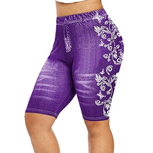N\P Las mujeres de verano falso denim señoras pantalones cortos verano floral impreso cintura alta mujer
