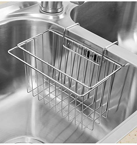 Kitchen Sponge Holder+Dish Cloth Hanger, Sink Basket Sink Caddy Brush Dishwashing Liquid Drainer Rack, Stainless Steel Rust Proof Water Proof, No Drilling