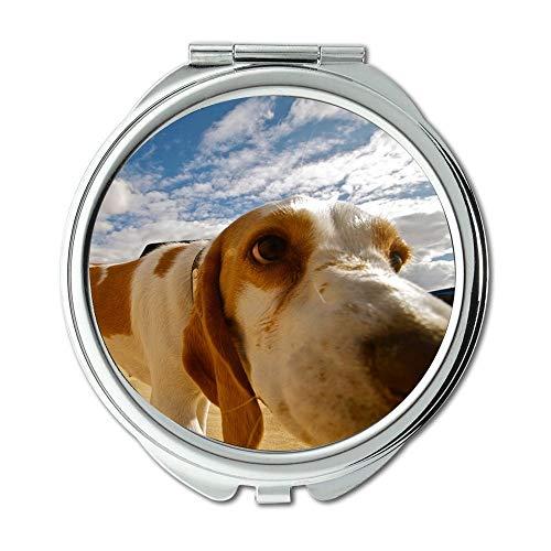 Yanteng Spiegel, Reise-Spiegel, Hund Wüste Tier Natur Haustier Sand Landschaft Cute, Taschenspiegel, Tragbare Spiegel